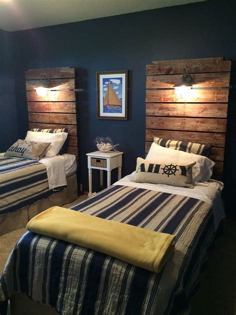 headboards made from our old dock sections with wired