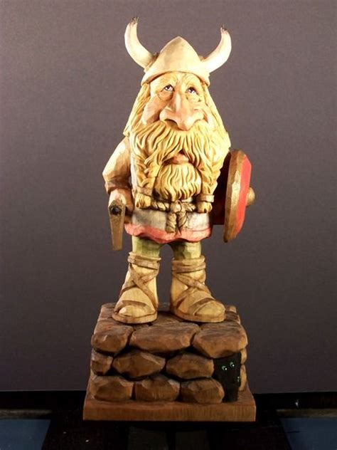 viking  carved   caricature carvings wood art