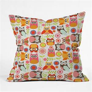 deny designs valentina ramos cute little owls throw pillow With cute colorful throw pillows