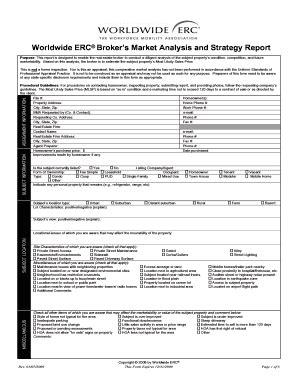 erc broker market analysis form fill  printable