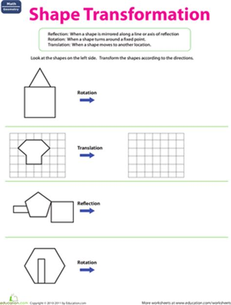 shape transformation worksheet education