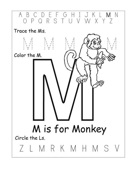 letter m worksheets activity shelter