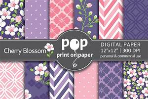 Polka Dots Business Cards Cherry Blossom Digital Paper Patterns On Creative Market