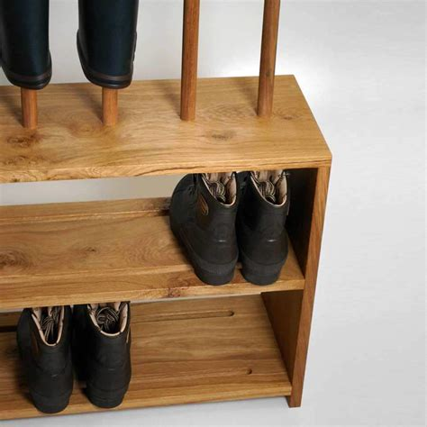 shoe boot rack oak welly and shoe rack with seat 5 pair