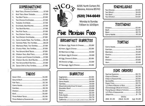menu cuisine az pictures for nico 39 s taco shop in tucson az 85743