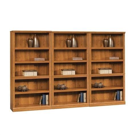 Oak Finish Bookcase by Sauder Storage Five Shelf Wall Oak Finish Bookcase