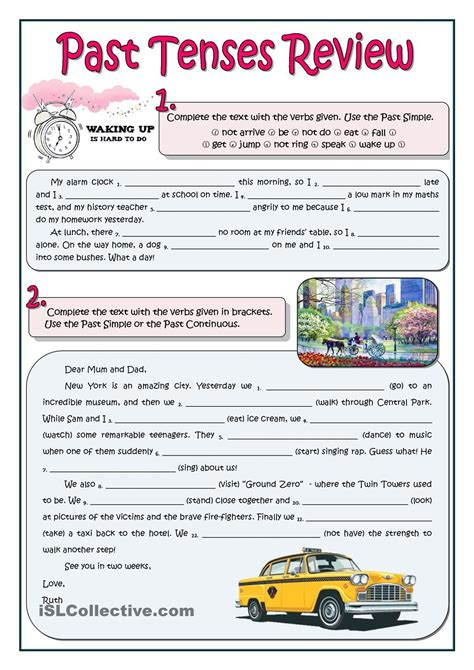 Past Tenses Review  Esl Worksheets Of The Day Pinterest