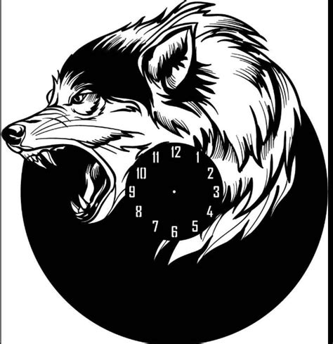 wolf shape wall clock laser cut dxf file