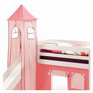 Lit Surélevé Avec Toboggan : donjon max pour lit sur lev avec toboggan rose mobil meubles ~ Melissatoandfro.com Idées de Décoration