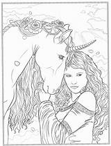 Coloring Pages Sheets Horse Fairy Fantasy Adult Dark Gothic Blank Books Printable Adults Colouring Ups Fairies Grown Uploaded User sketch template
