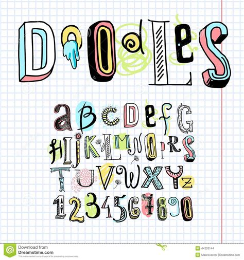 doodle alphabet font notebook stock vector image 44203144