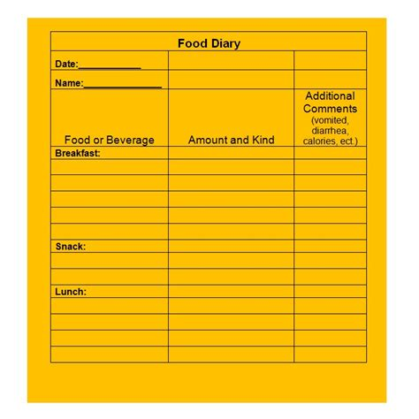 Food Diary Template 40 Simple Food Diary Templates Food Log Exles