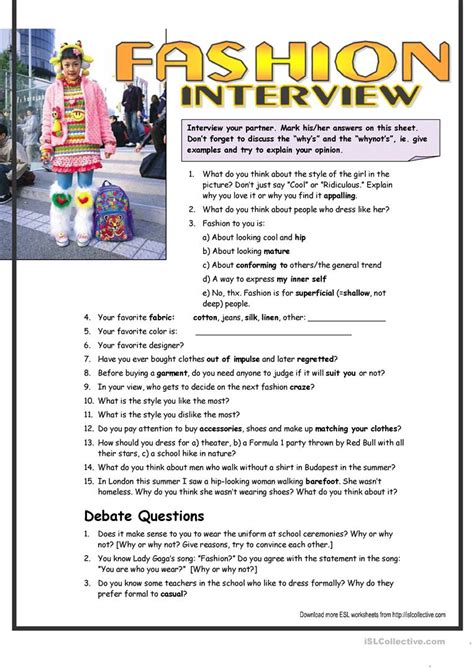 interview questions  fashion interm worksheet