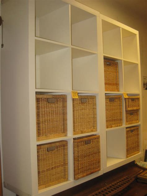 Stylish White Storage Cubes With Rattan Baskets Design For