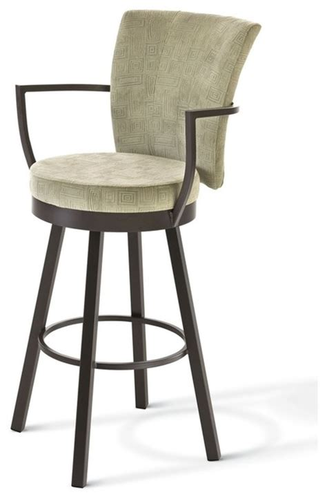 Upholstered Bar Stools With Arms by Amisco Amisco Cardin Upholstered Back Swivel Stool With