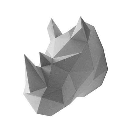 trophee origami en papier rhinoceros gris