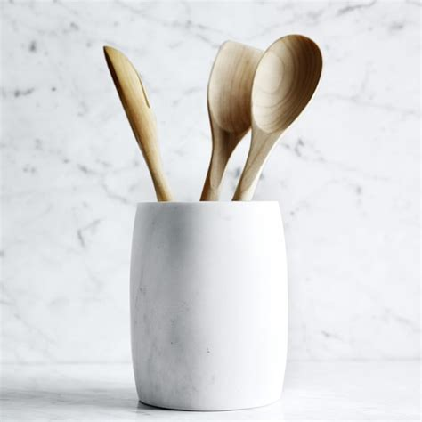 kitchen utensil holder marble utensil holder williams sonoma