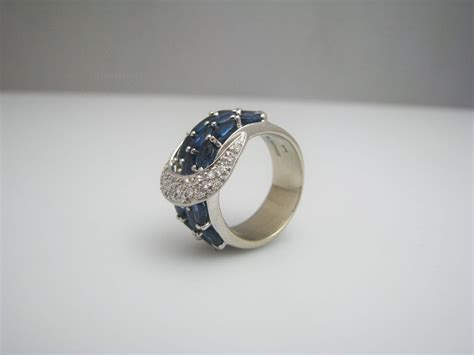 H164 Stunning 14k White Gold Diamond and Sapphire Ring in ...