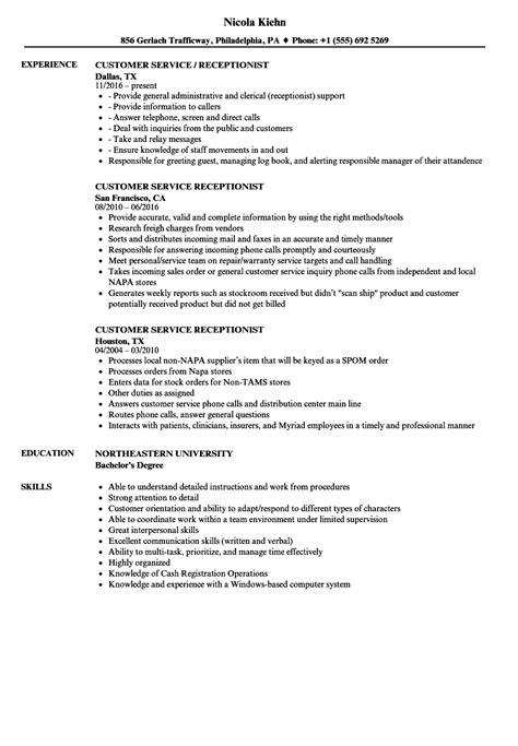 Phone Customer Service Resume by Customer Service Receptionist Resume Sles Velvet