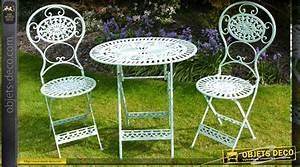Salon De Jardin En Fer : salon de jardin en fer forg bleu clair ~ Teatrodelosmanantiales.com Idées de Décoration