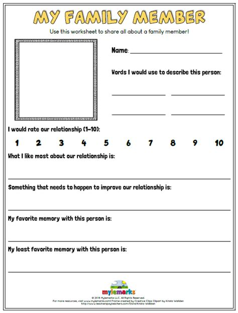 family relationships worksheets  kids  teens