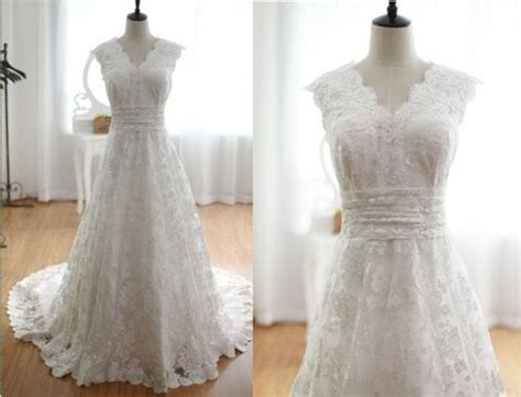 Vintage Inspired Lace Wedding Dress V Neck A Line
