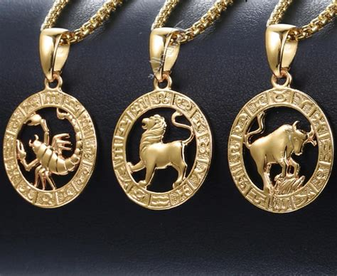 Zodiac Sign Necklace With Chain Astrology Birth Sign