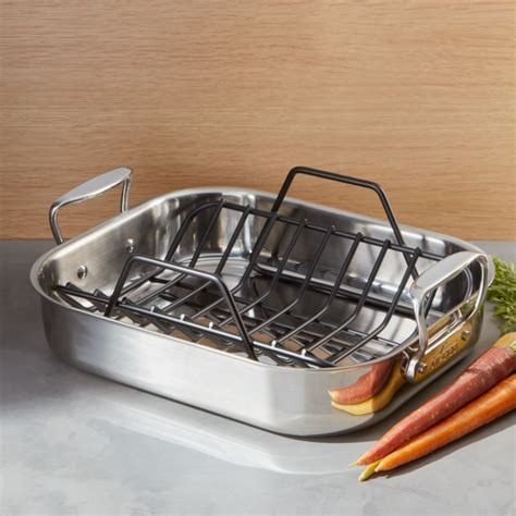 Small Pan Rack by All Clad Roasting Pan With Rack Reviews Crate And Barrel