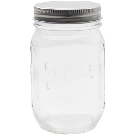 Fresh Embossed Clear Glass Jar 490Ml   Hobbycraft