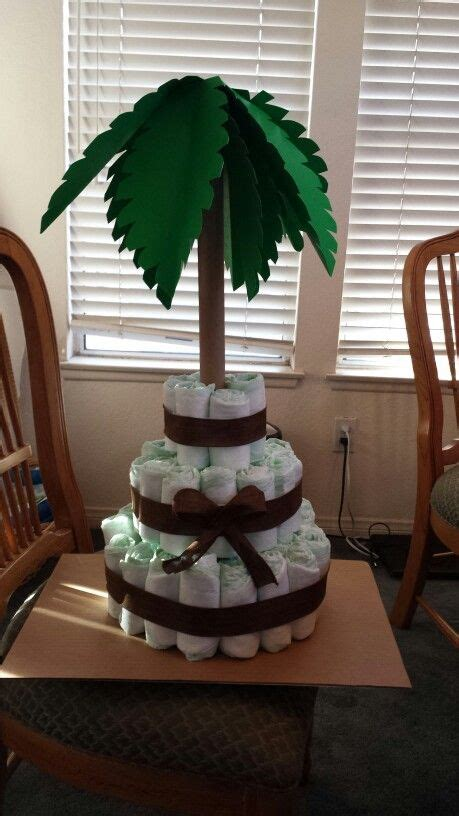 diaper cake palm tree jungle baby shower shower ideas