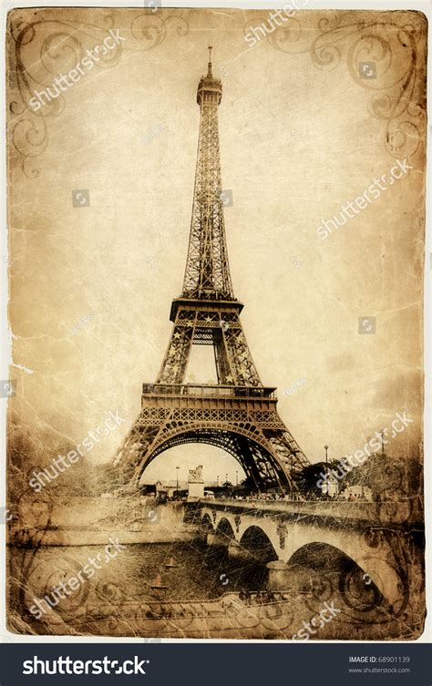 vintage parisian cards series eiffel tower stock
