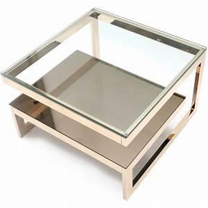 Table Basse Metal Verre : table basse vintage en m tal dor et verre chrom 1970 design market ~ Mglfilm.com Idées de Décoration
