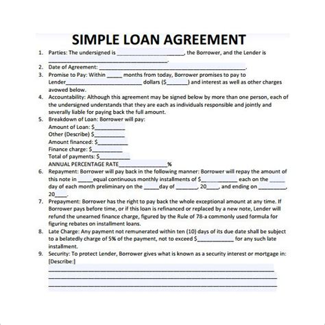 simple loan contract emmamcintyrephotographycom