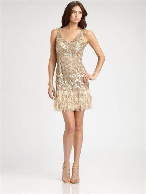sue wong feathertrimmed sequined dress  gold beige lyst