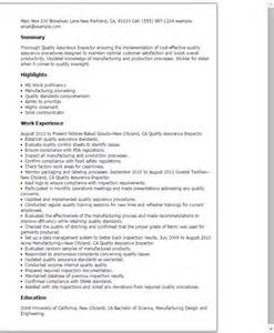 quality inspector resume templates professional quality assurance inspector templates to showcase your talent myperfectresume