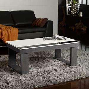 Table Basse Blanc Bois : table basse relevable plateau blanc et pied bois d co et saveurs ~ Teatrodelosmanantiales.com Idées de Décoration