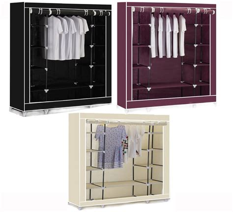 Cupboard Hanging Rail by New Canvas Clothes Wardrobe Cupboard Hanging Rail