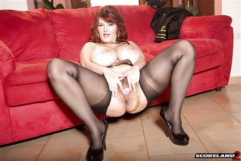 Fashionable Redhead Legged At Home Milf In Action