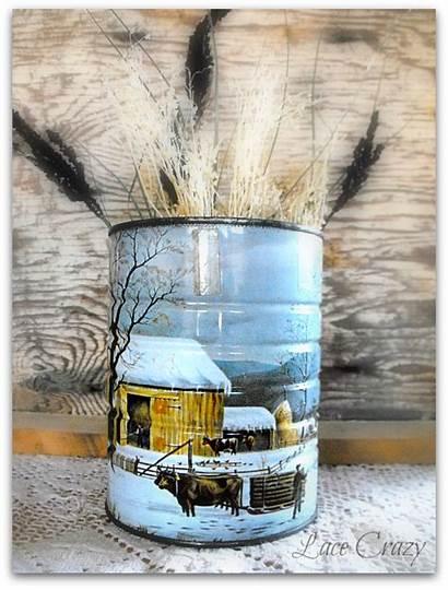 Decor Kitchen Country Circles Winter Scene Around