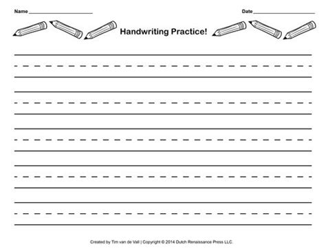 Lined Writing Paper For Kids With Borders  Writing  Handwriting Practice Paper, Free