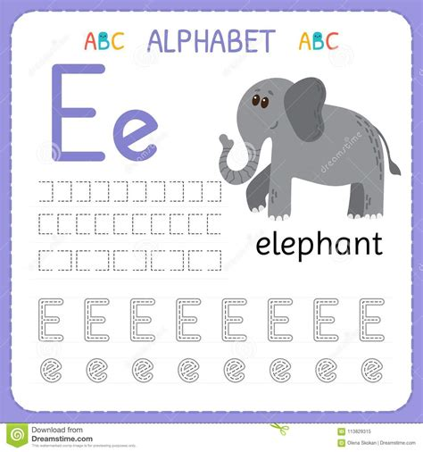alphabet tracing worksheet for preschool and kindergarten 624 | alphabet tracing worksheet preschool kindergarten writing practice letter e exercises kids alphabet tracing worksheet 113829315