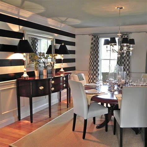 Dining Room Accent Wall 11  In Black And White Stripes