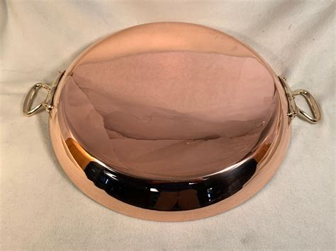 copper tin lined french mauviel paella pan  lid rocky mountain retinning