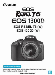 Canon Eos Rebel T6i Manual  Owner User Guide And Instructions