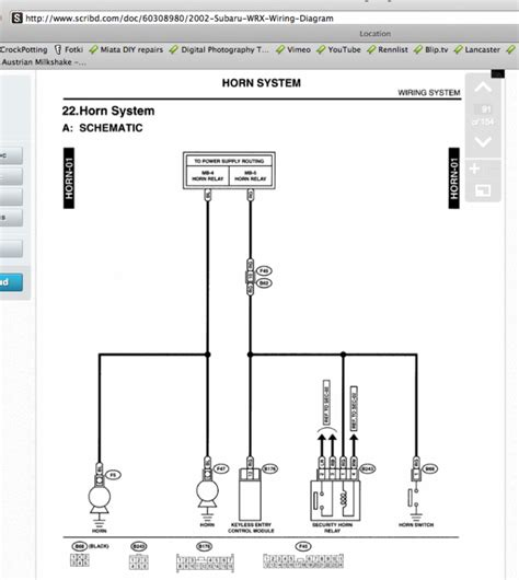 2012 Subaru Impreza Wire Schematic by Wiring Diagram Wrong For Horn Wire Photo Nasioc