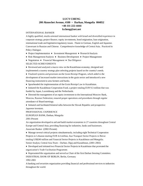 Banker Resume by Professional Banker Resume Exle Template