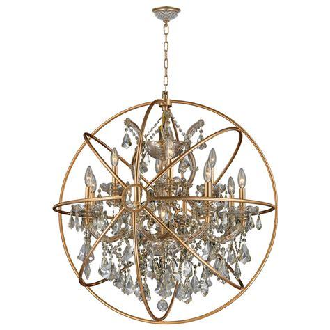 Worldwide Lighting Armillary 13-Light Gold Crystal