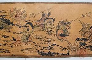 Ancient Scroll Designs Rare Old Chinese Qingdyansty Scroll Painting Ancient War
