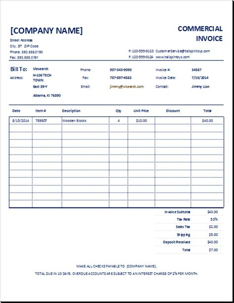 customizable commercial invoice template excel invoice