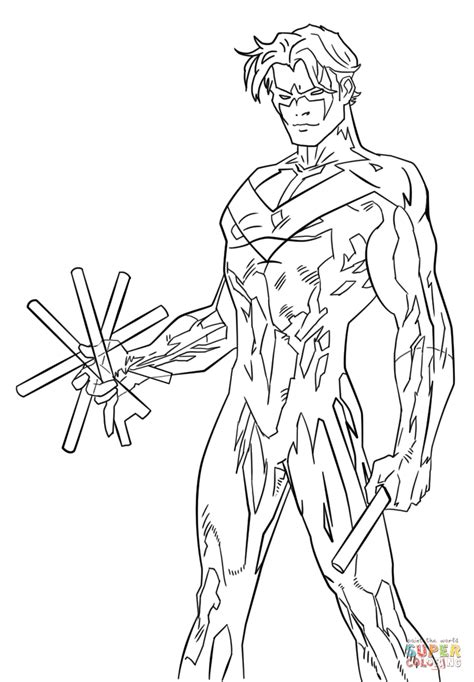 young justice nightwing coloring page  printable